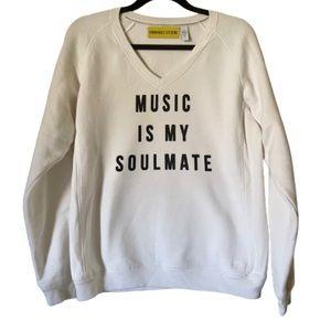 Custom vintage white v neck music sweatshirt
